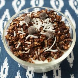 a bowl of chocolate coconut homemade granola
