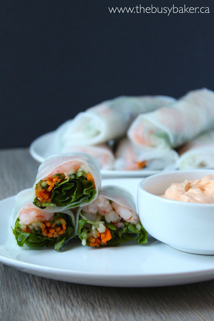 3 vegetable spring rolls with shrimp, carrots, cucumber and healthy greens