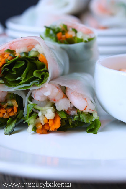 shrimp spring rolls on a plate