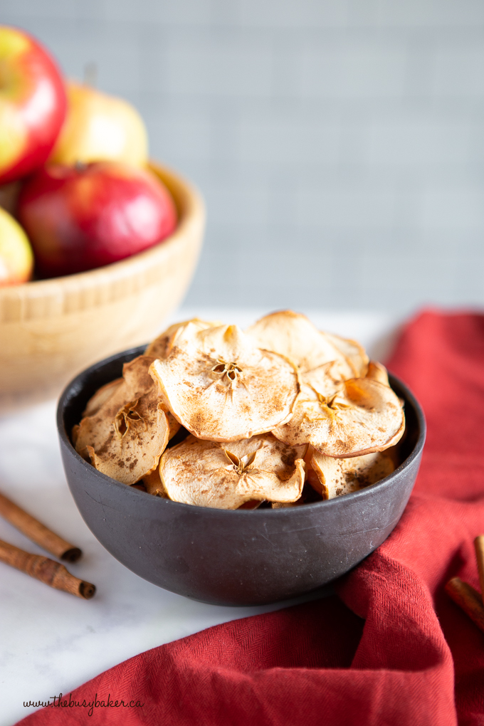 apple chips in black bowl with cinnamon sticks