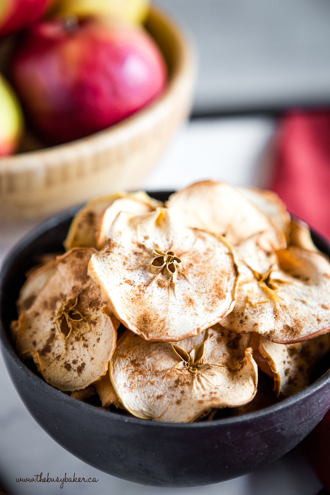 Apple Chips with cinnamon in black bowl