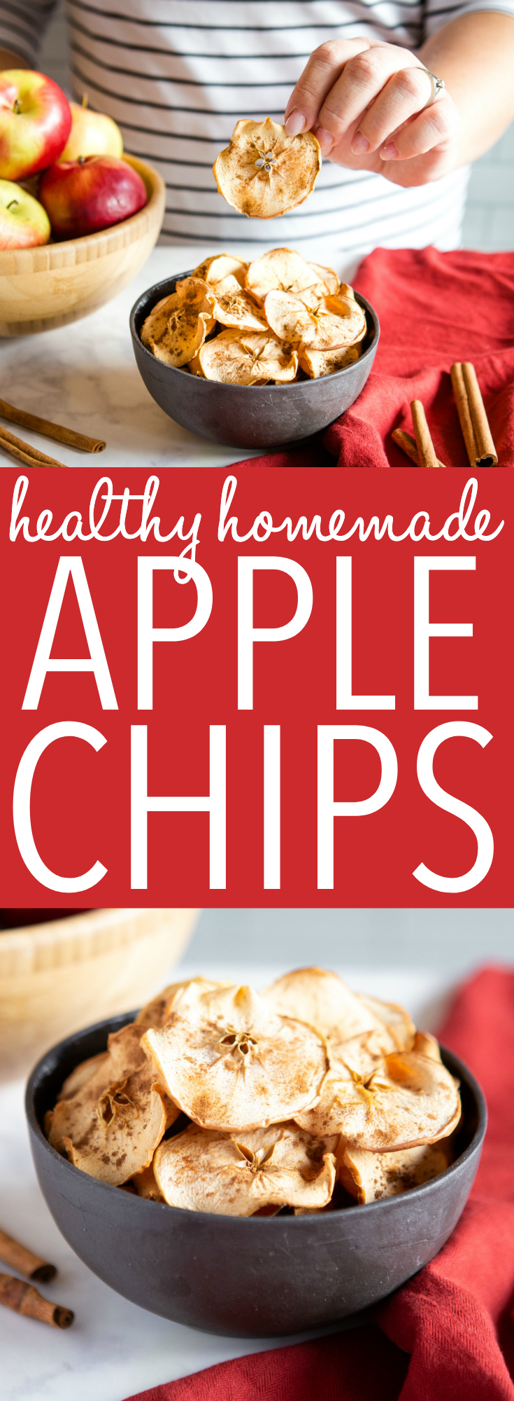 This Healthy Homemade Apple Chips recipe is easy to make, and homemade apple chips are the perfect healthy snack for a fall day. Great for packing into lunch boxes, too! Recipe from thebusybaker.ca! #apple #chips #snack #afterschool #heathy #backtoschool #kidfriendly #children #kids #lunch #recipe #vegan #health via @busybakerblog