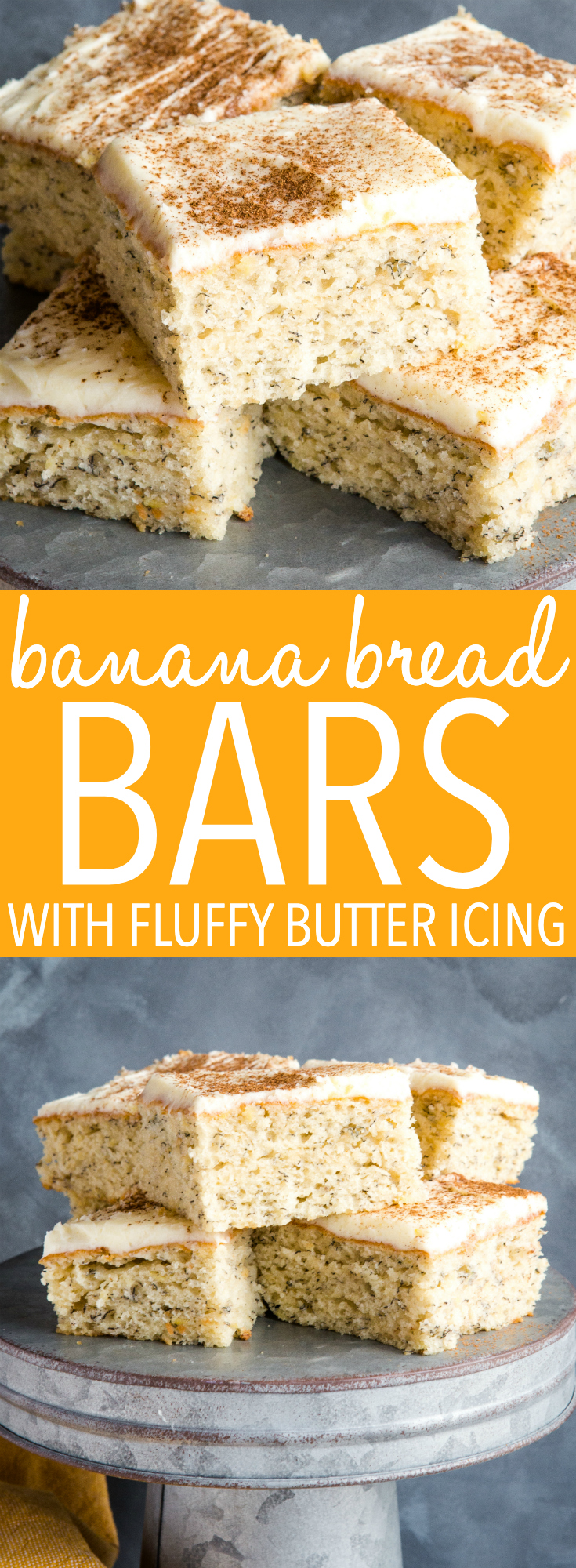 These Banana Bread Bars with Fluffy Butter Icing are the perfect sweet treat for any occasion! Made in one bowl with fresh bananas, and topped with the softest butter frosting! Recipe from thebusybaker.ca! #banana #bread #bars #frosting #buttercream #dessert #snack #baking #recipe #homemade #homesteading #cake  via @busybakerblog