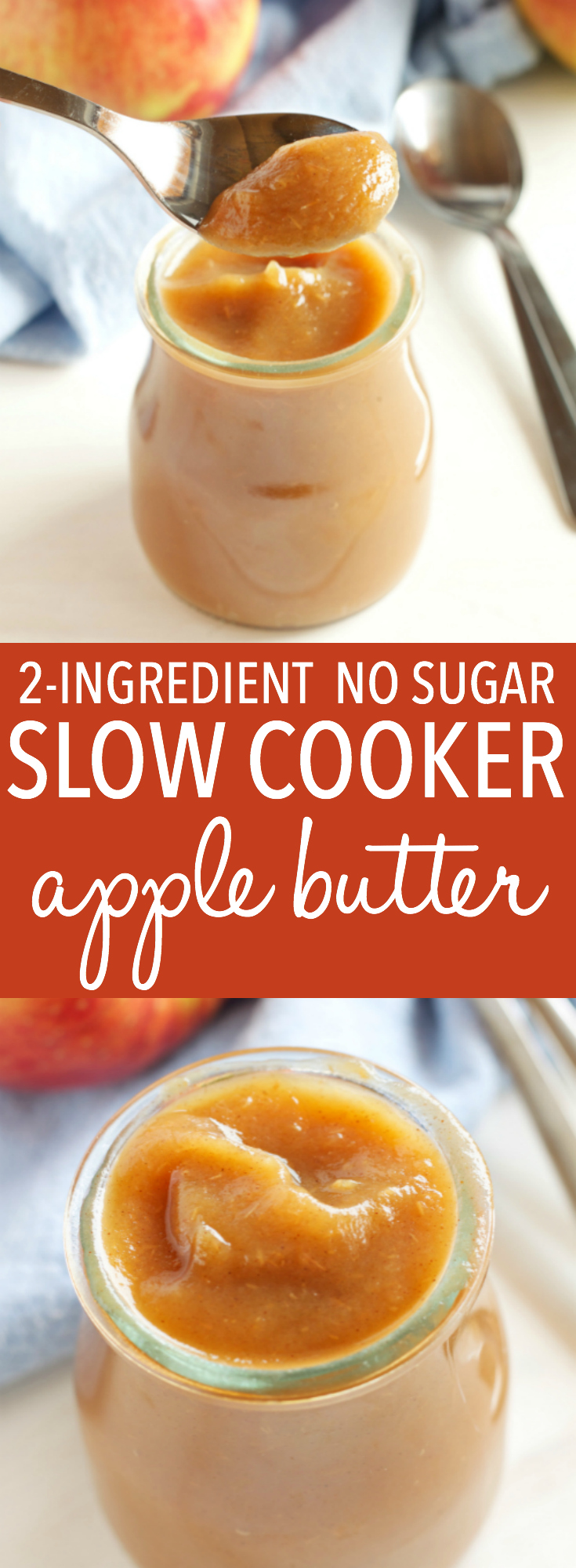 This Healthy 2 Ingredient Crock Pot Apple Butter is an easy fall recipe made with only apples and cinnamon, and no sugar! Perfect as a dip or spread! Recipe from thebusybaker.ca! via @busybakerblog