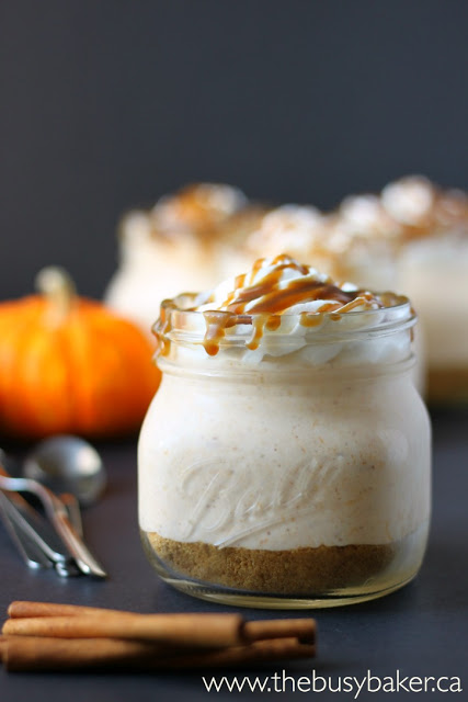 single sized portion of pumpkin cheesecake served in a mason jar