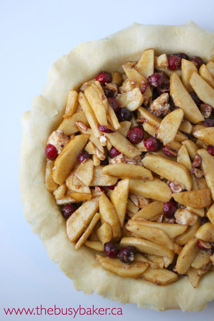 unbaked cranberry apple pie with the top crust removed