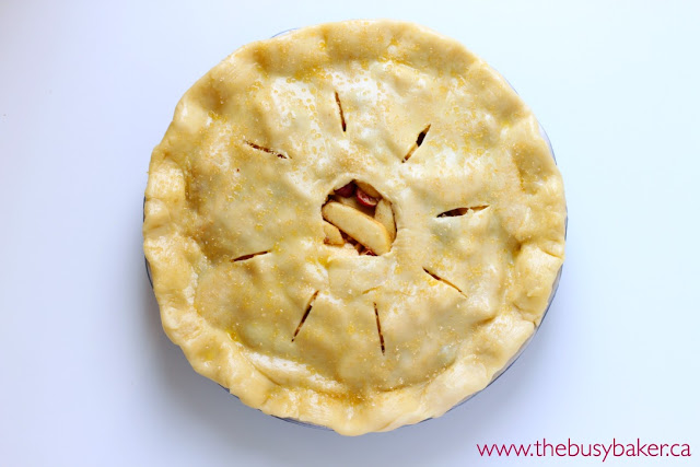 overhead image of an unbaked cranberry apple pie