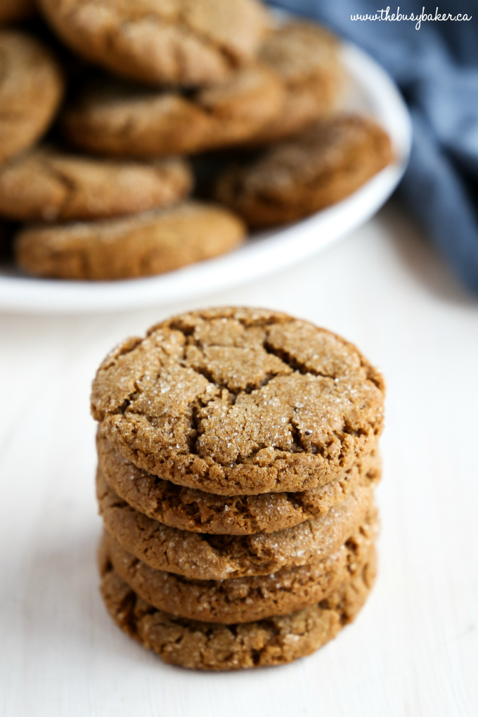 Best Ever Ginger Molasses Cookies in stack