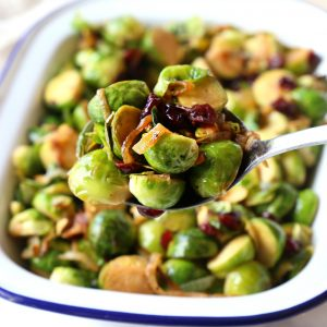 Brussels Sprouts with Caramelized Onions, Cranberries and Pistachios
