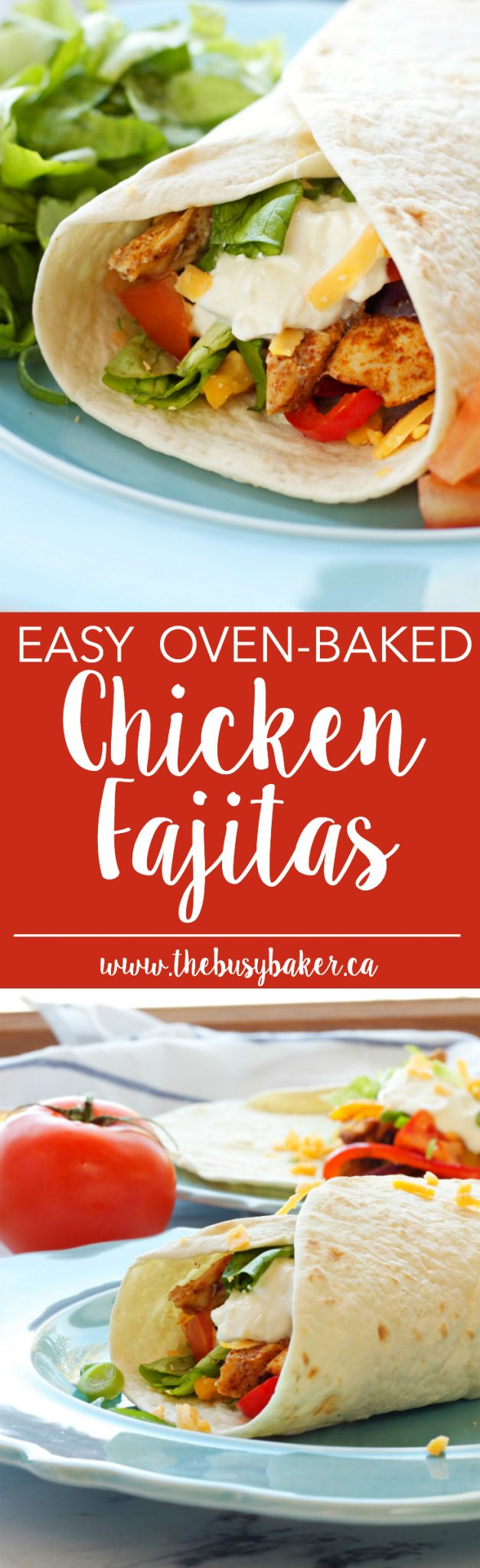These Easy Oven Baked Chicken Fajitas are a quick and easy weeknight meal that's healthy and fresh and on the table in 30 minutes! Recipe from thebusybaker.ca via @busybakerblog