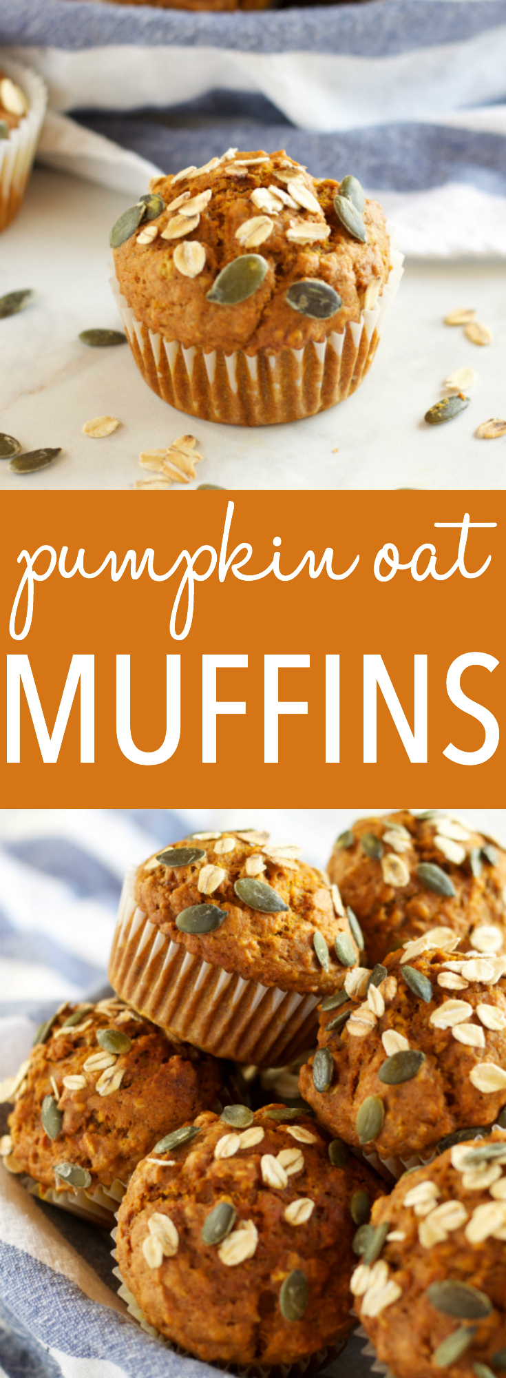 These Healthy Pumpkin Oat Muffins are low in fat and sugar, but they're so moist and flavorful because they're packed with pumpkin and applesauce! Recipe from thebusybaker.ca #pumpkinspice via @busybakerblog