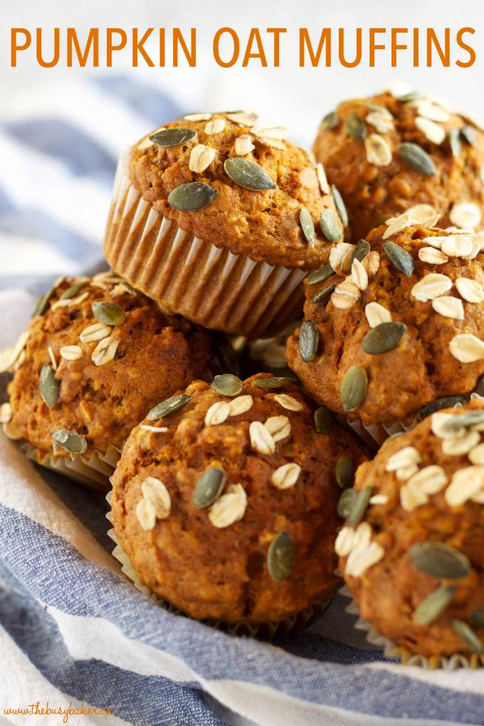 These Healthy Pumpkin Oat Muffins are low in fat and sugar, but they're so moist and flavorful because they're packed with pumpkin and applesauce! Recipe from thebusybaker.ca #pumpkinspice