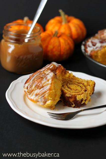 Pumpkin Spice Cinnamon Rolls - The Busy Baker