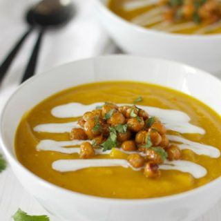 Vegan Butternut Squash Soup with Lentils, Chickpeas and Coconut Cream