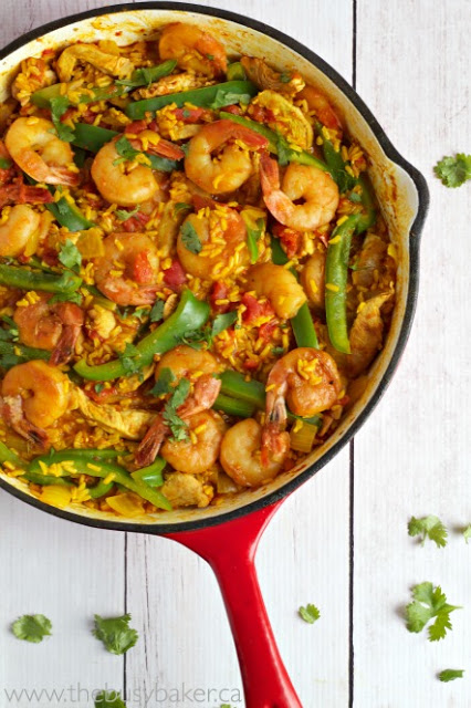 red pan of Spanish Paella with Chicken and Shrimp