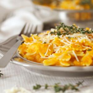 plate of pasta with vegan butternut squash pasta sauce