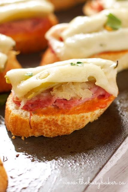 close up image of a reuben sandwich appetizer