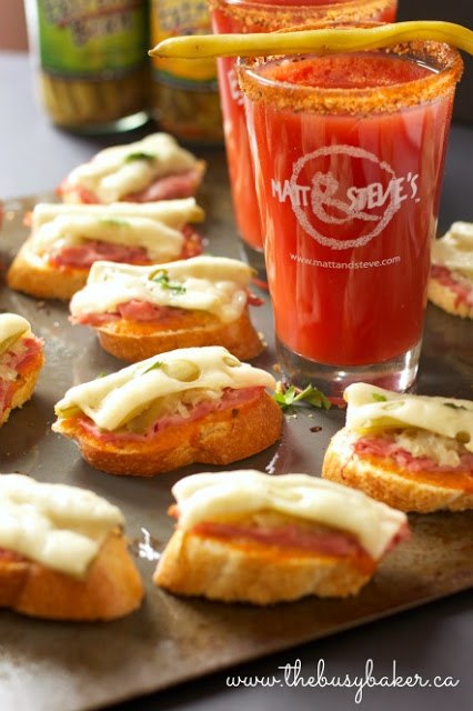 Mini Reuben Sandwich Appetizers next to a Bloody Mary cocktail