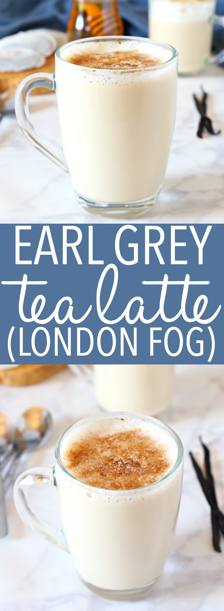 This Earl Grey Vanilla Tea Latte or London Fog is a simply delicious and popular coffee shop drink that's so easy to make at home! And it calls for real, healthy ingredients - it's low in fat, can be made dairy-free, and it's free of refined sugars! Recipe from thebusybaker.ca! #earlgrey #tealatte #tea #drink #hotdrink #christmas #winter #comfortfood #fall #sugarfree #honey #naturallysweetened #healthy #lowfat #dairyfree via @busybakerblog