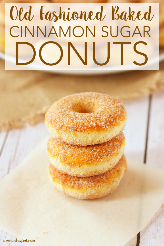 These Old Fashioned Cinnamon Sugar Baked Cake Donuts are easy to make, and they're lower in fat and sugar than most donuts, making them a healthier choice! Recipe from thebusybaker.ca!