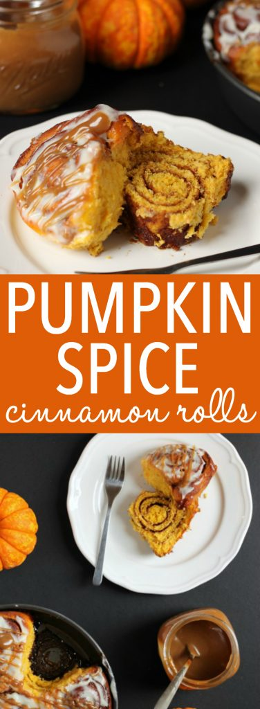 These soft and moist Pumpkin Spice Cinnamon Rolls are the perfect fall treat made with real pumpkin, fragrant spices and an easy cream cheese glaze! Recipe from thebusybaker.ca! #PumpkinSpice
