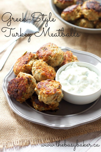 These Skinny Greek Turkey Meatballs are the perfect healthy meal idea, packed with veggies and easy to make with a side of Tzatziki! Recipe from thebusybaker.ca!