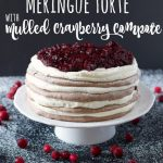 Chocolate Spice Meringue Pavlova Torte with Mulled Cranberry Compote