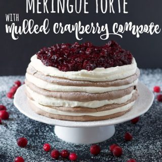 Chocolate Spice Meringue Torte with Mulled Cranberry Compote
