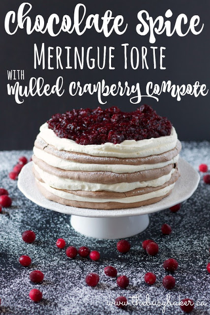 titled image (and shown): chocolate spice meringue torte with mulled cranberry compote