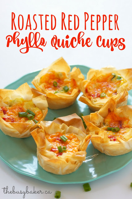 titled image (and shown): Roasted Red Pepper Phyllo Quiche Cups