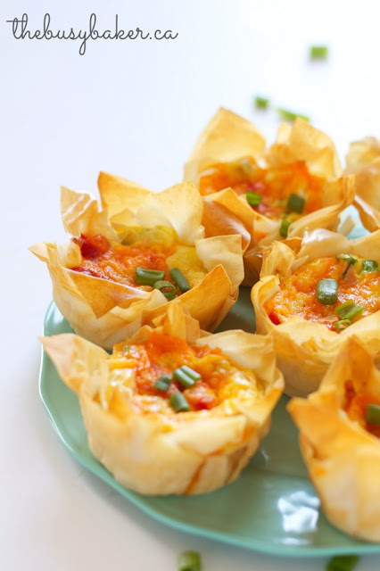 meatless quiche phyllo pastry cups on a platter