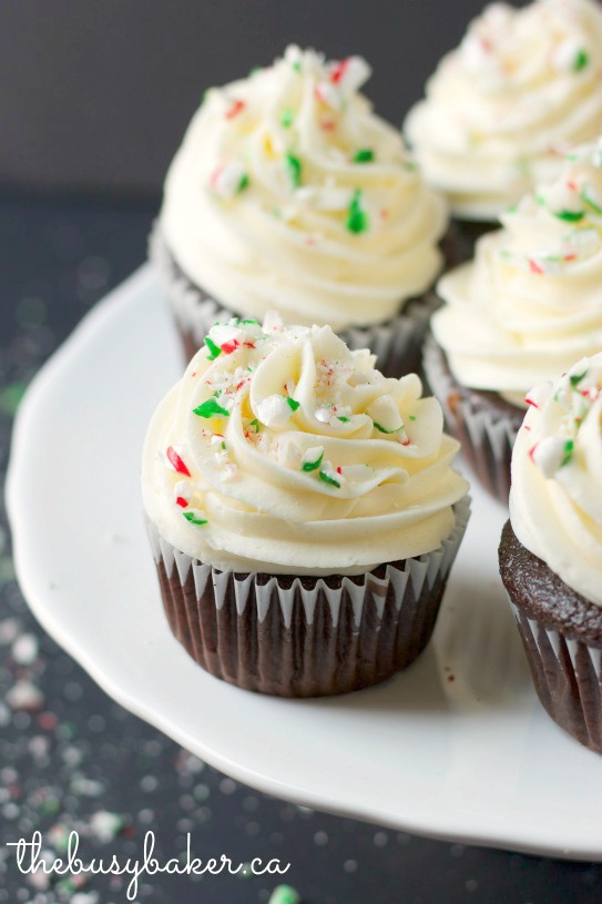 Peppermint Chocolate Cupcakes thebusybaker.ca