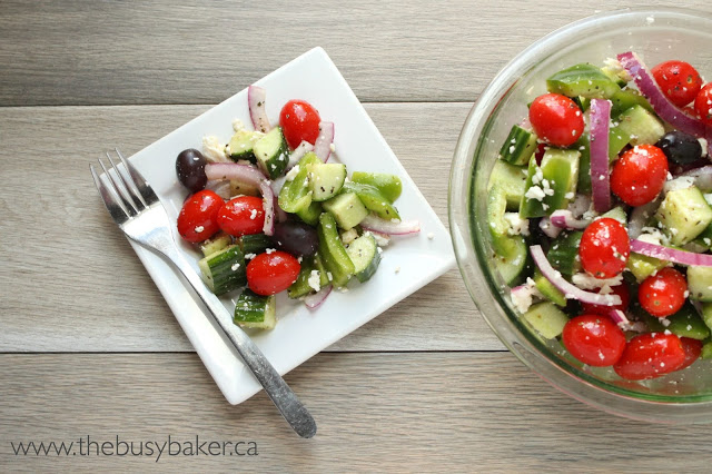 Easy Greek Salad In Under 5 Minutes!