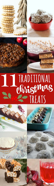 titled photo collage of 11 Traditional Christmas Treats