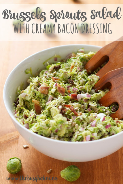 titled image (and shown): Brussels Sprouts Salad with Creamy Bacon Dressing