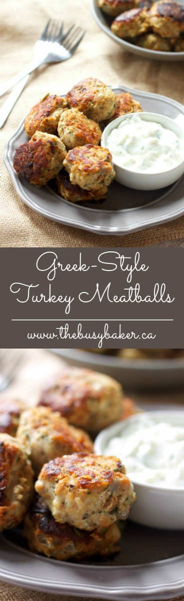 These Skinny Greek Turkey Meatballs are the perfect healthy meal idea, packed with veggies and easy to make with a side of Tzatziki! Recipe from thebusybaker.ca! via @busybakerblog