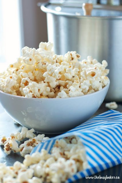 white bowl filled with homemade kettle corn