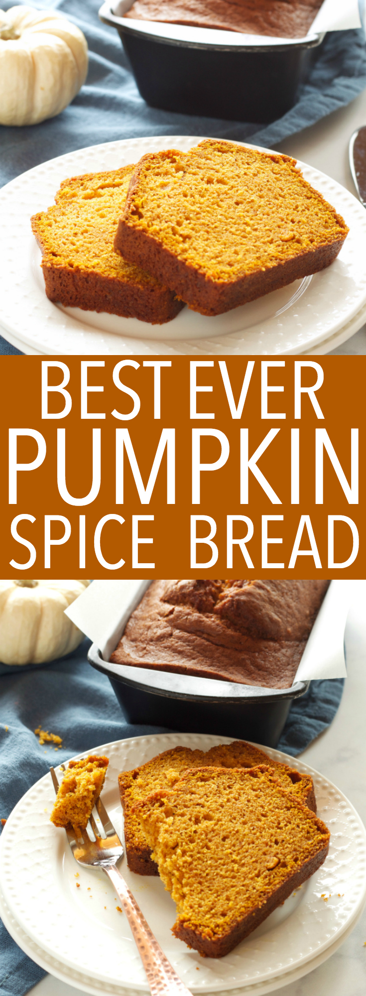 This Best Ever Pumpkin Spice Bread is moist and flavourful and packed with pumpkin and spices, and it's so easy to make in only one bowl! Recipe from thebusybaker.ca! #fallpumpkinrecipe #besteverpumpkinloaf #besteverpumpkinrecipe #easypumpkinrecipe via @busybakerblog