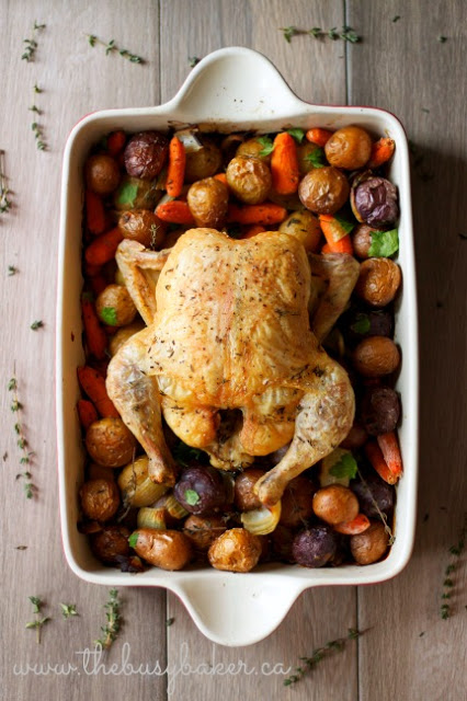 pan of easy roasted chicken with roasted vegetables