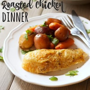titled image (and shown): one pan roasted chicken dinner