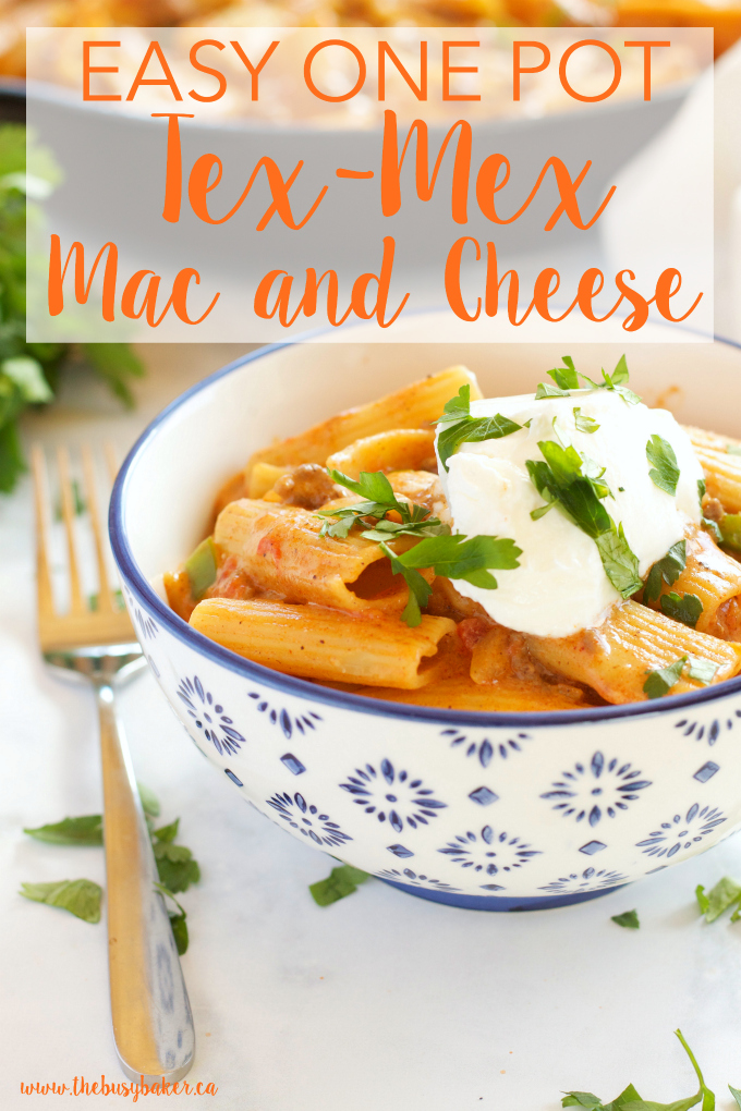 This Easy One Pot Tex Mex Mac and Cheese is the perfect easy, cheesy weeknight family meal that's ready in under 30 minutes! Recipe from thebusybaker.ca