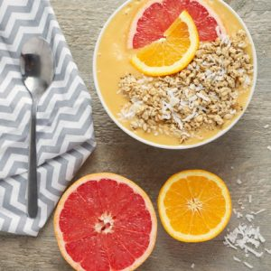 titled image (and shown): Mango Citrus Smoothie Bowl Recipe