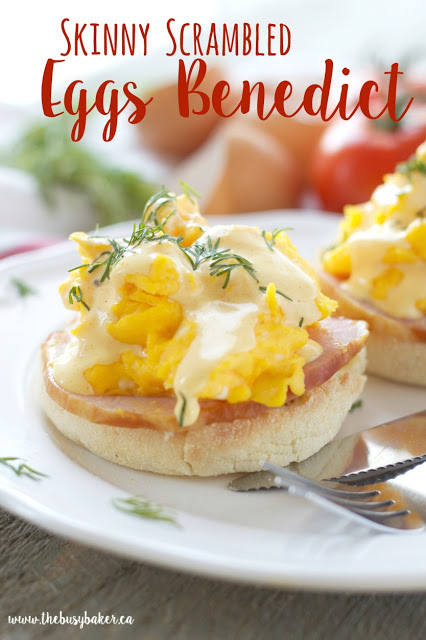 This Skinny Scrambled Eggs Benedict with Low Fat Hollandaise Sauce features Canadian bacon, fluffy scrambled eggs and the creamy low fat Hollandaise sauce! Recipe from thebusybaker.ca!