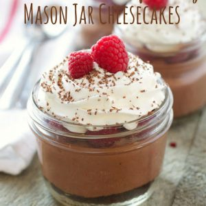 titled image (and shown): Skinny Raspberry Chocolate No Bake Mason Jar Cheesecake