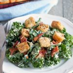 Kale Caesar Salad with Bacon and Homemade Croutons