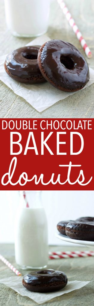 These Healthier Double Chocolate Baked Donuts are the perfect low-fat sweet treat to satisfy those chocolate cravings! Made with less sugar and fat than a traditional donut and baked to perfection with a chocolatey glaze, these Healthier Double Chocolate Baked Donuts are easy to make and totally delicious! Recipe from thebusybaker.ca! #healthydonuts #easybakeddonuts #donutrecipe #chocolatedonutrecipe