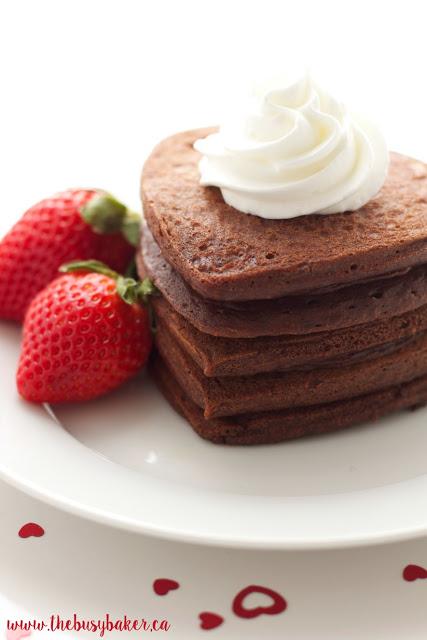 chocolate pancakes shaped like hearts