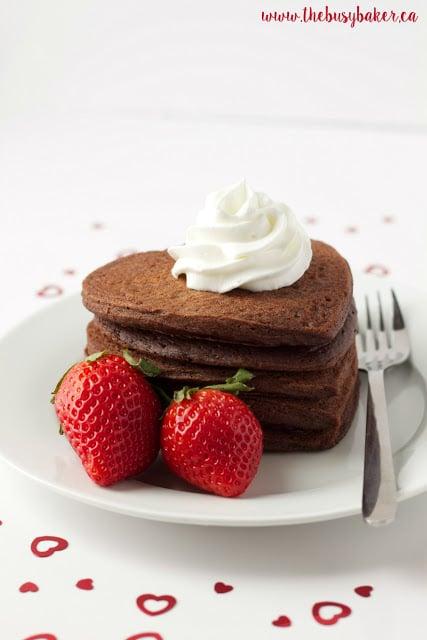 Valentine's Day breakfast - heart shaped pancakes