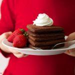 chocolate heart shaped pancakes