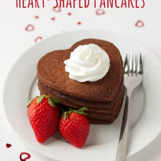 titled photo (and shown): Chocolate Heart Shaped Pancakes